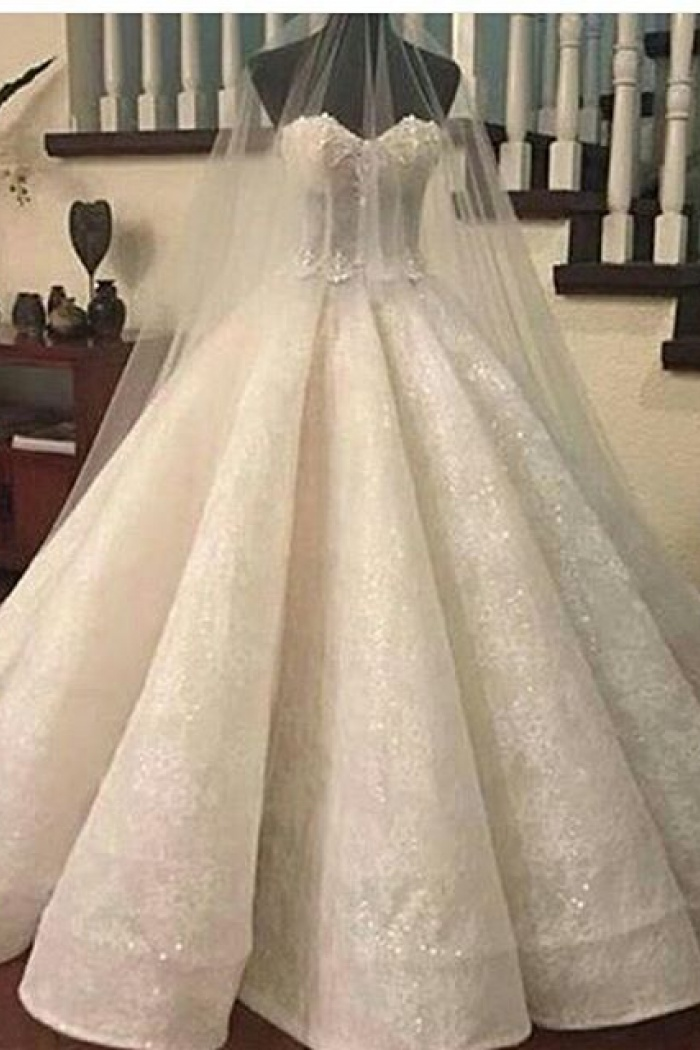 Ruffles Lace Gorgeous Ball-Gown Sweetheart-Neck Wedding Dresses ...