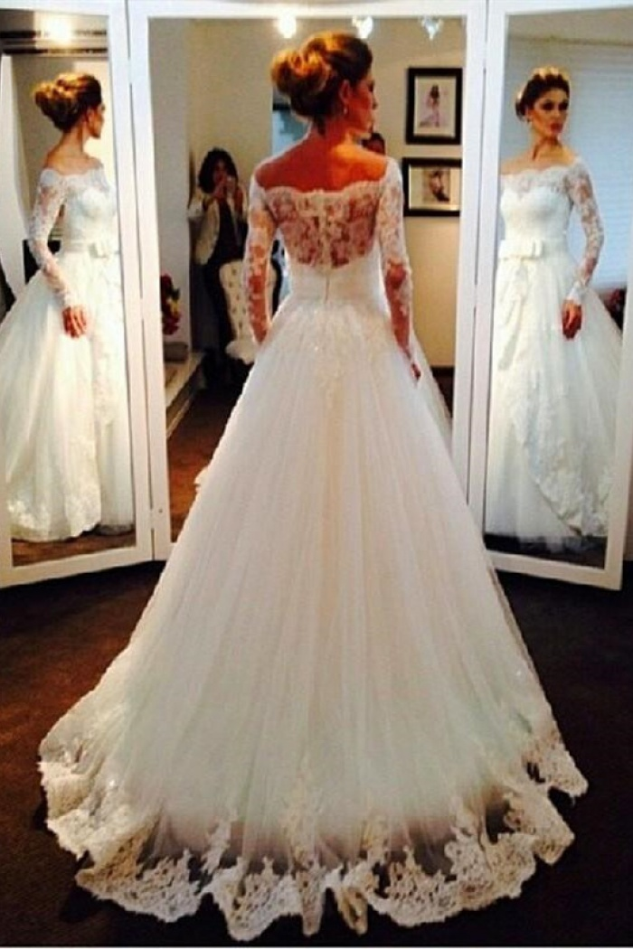 Bow Tulle Lace Off The Shoulder Bridal Dresses 2018 Long Sleeve Elegant Wedding Dress