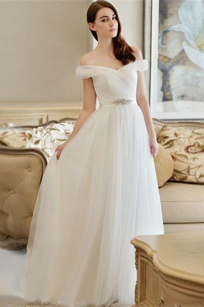 Newest Wedding Dress.Crystal Newest Long Off The Shoulder A Line Wedding Dress