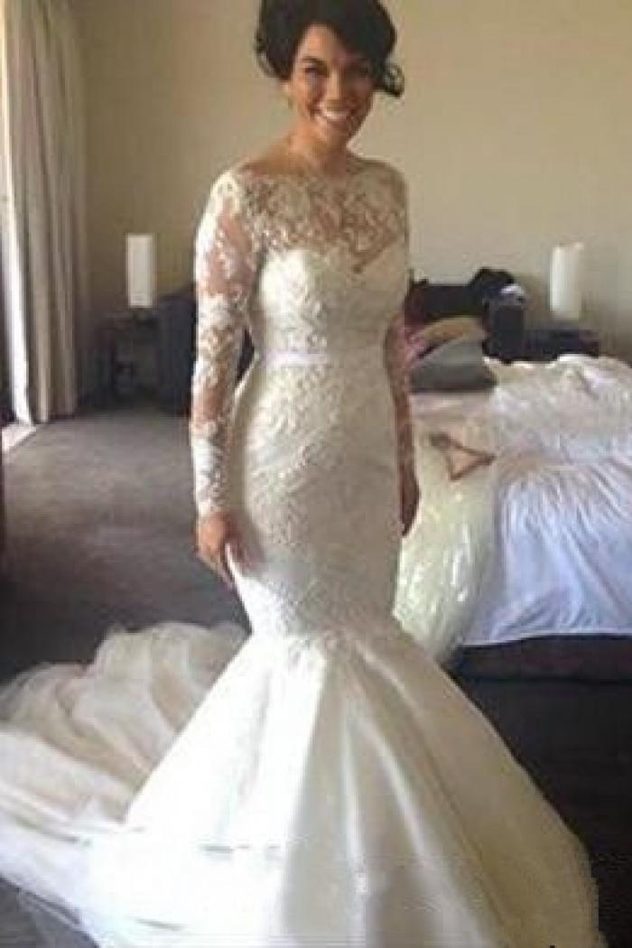 Gorgeous Mermaid Long Sleeve Lace Wedding Dresses 2018