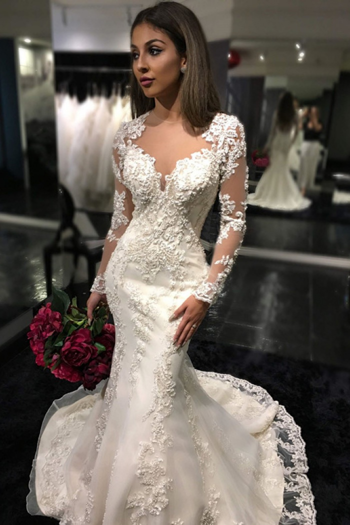 9092c9d706460 Charming Long Sleeves Mermaid Bridal Dresses 2018 Tulle Appliques Mermaid  Sheer Back Wedding Dress
