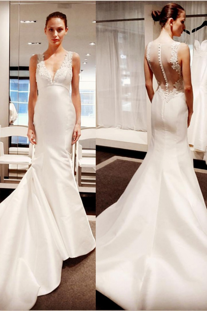 5163668751127b Classic V-Neck Lace Appliques Bridal Gowns Cheap Sleeveless Mermaid Buttons Wedding  Dress 2018 0