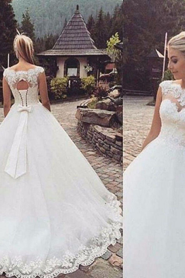Lace Appliques Cap Sleeves Sleeveless Wedding Dresses 2018 Lace Up ...