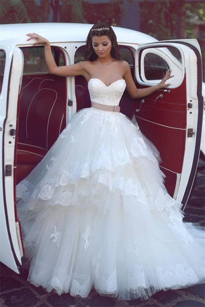 Lace Wedding Dresses Strapless Tulle