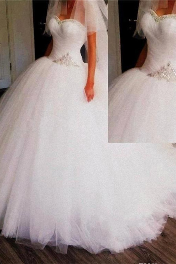 Princess Sweetheart Ball Gown Wedding Dresses Puffy Tulle Crystals ...