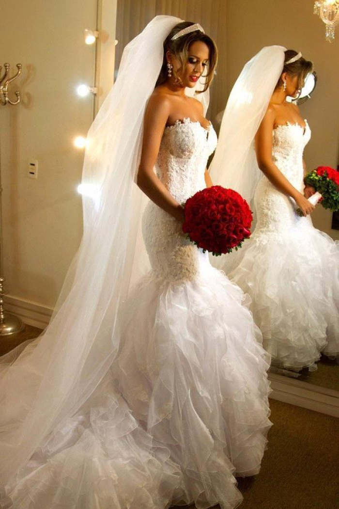 Elegant Strapless Sheath 2018 Wedding Dresses Organza Sheer Back Mermaid Bridal Dresses Bo7794