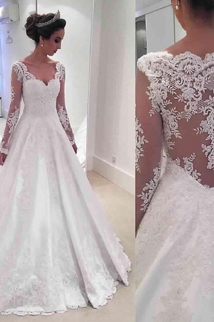 Long Sleeve V Neck 2018 Wedding Dresses Online Sheer Lace Back Bridal 0