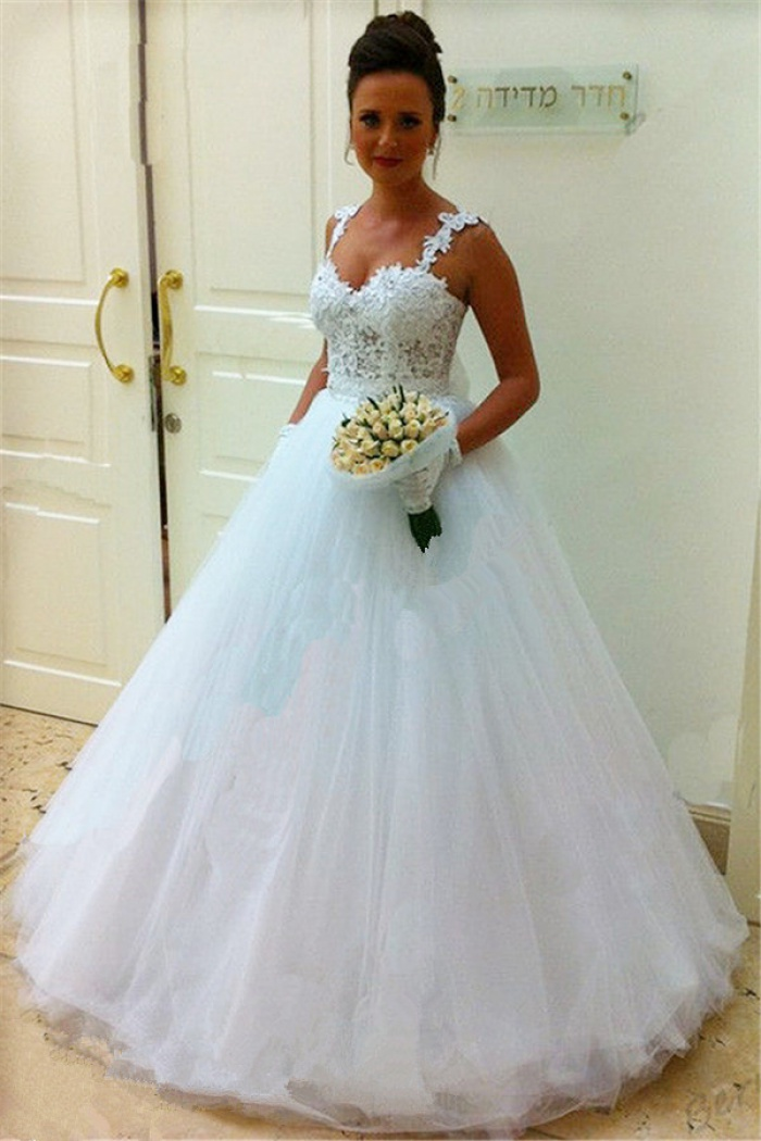 Straps Lace Top Puffy Tulle Wedding Dress 2018 Ball Gown Sleeveless ...