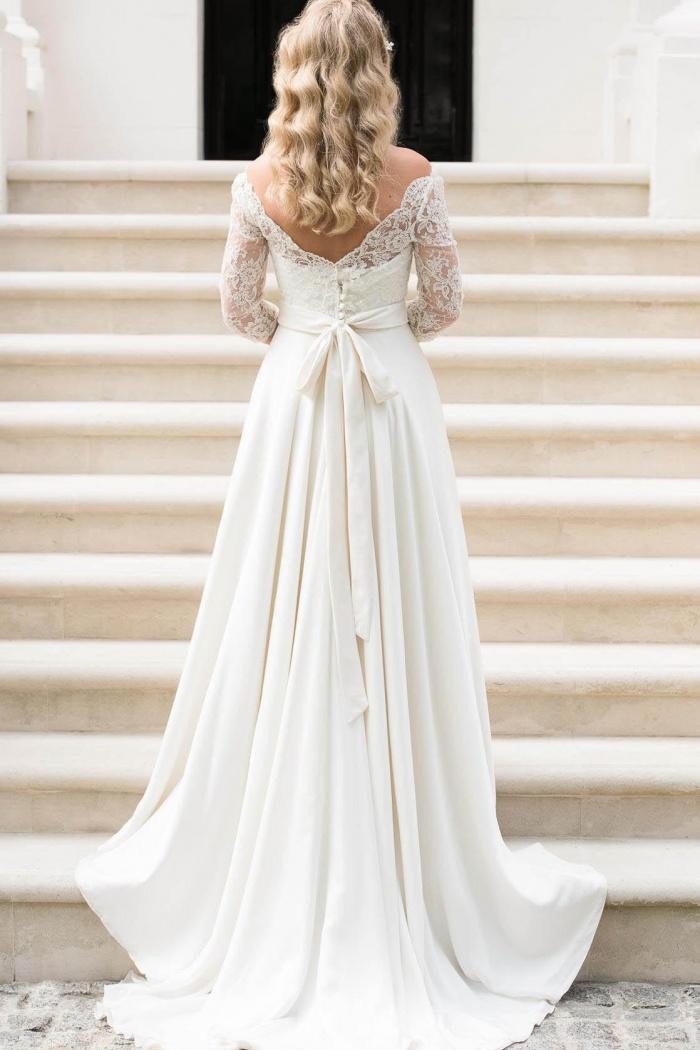 A Line Half Sleeve Lace Wedding Dress 2018 Off Shoulder V Back