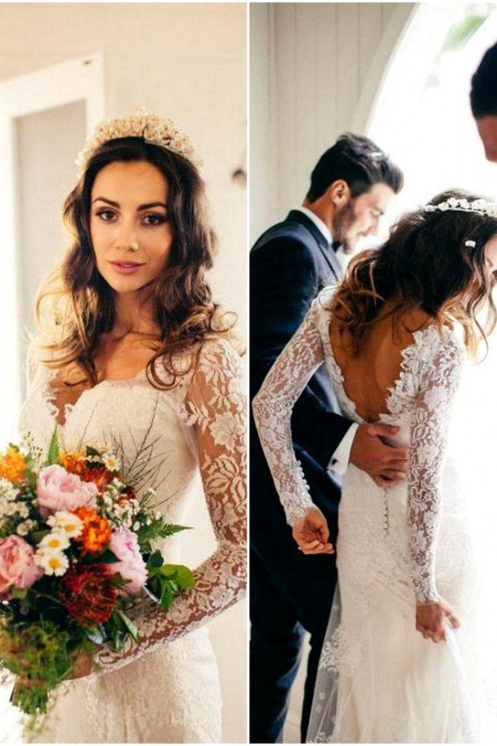 Elegant Lace Long Sleeve Wedding Gowns Latest V-Neck Open Back ...