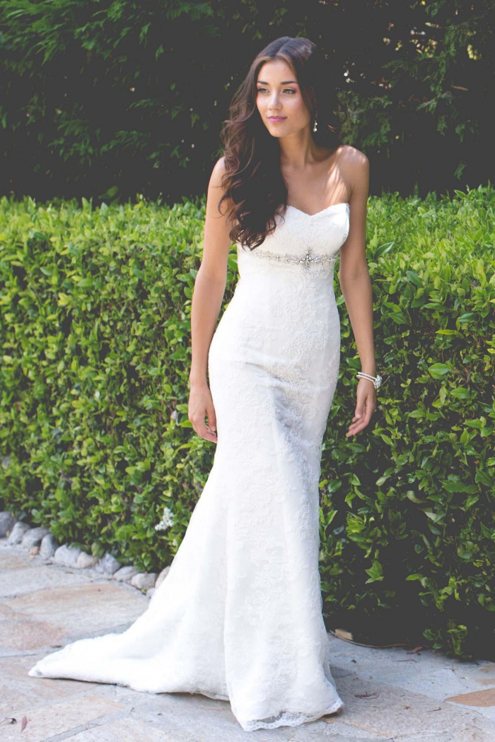 Strapless Lace Wedding Dress 2018 Simple Summer Outdoor Wedding Gowns With Beading Belt Wisebridal Com,Best Dress For Wedding Guest