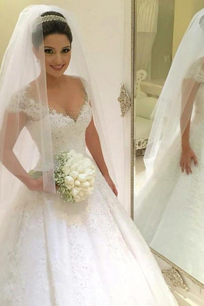 Gorgeous Tulle Crystal Wedding Dresses 2018 Lace Short Sleeve Bridal ...