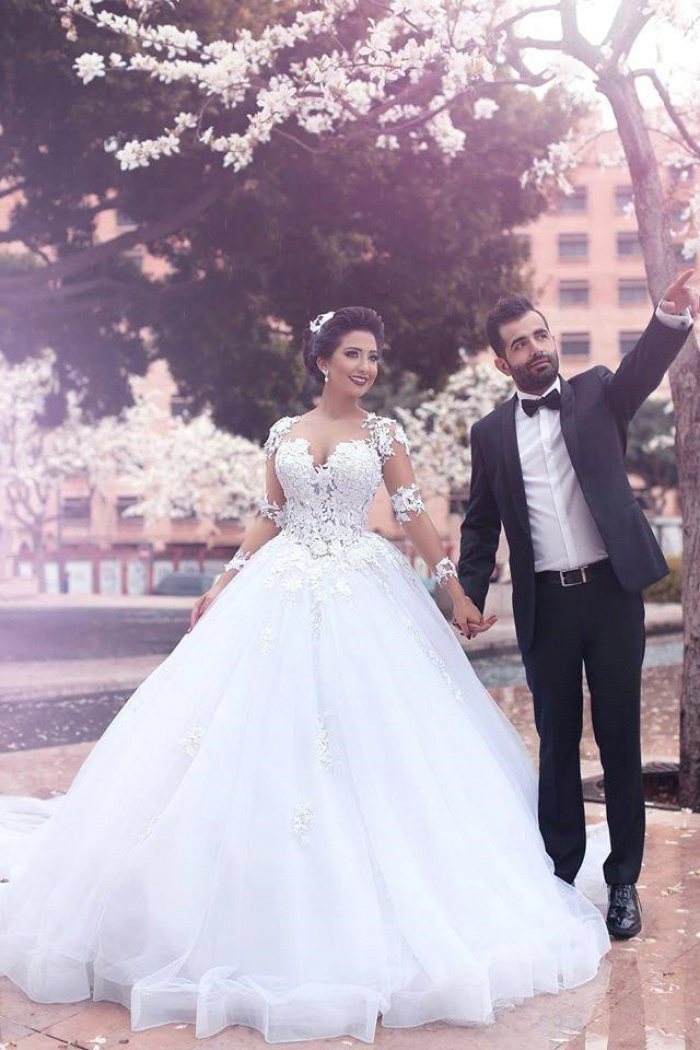 Gorgeous Long Sleeve Ball Gown Wedding Dresses Latest Lace Applique ...