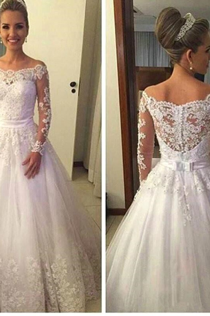 Off the Shoulder Long Sleeve 2018 Wedding Dress A-Line Lace Bridal ...