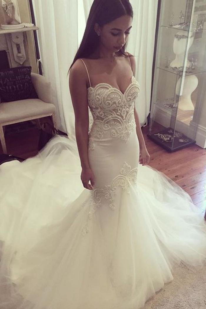 848d6b8feb Pretty Spaghetti Straps Sweetheart Wedding Dress 2018 Summer Sheath Tulle Bridal  Gown 0