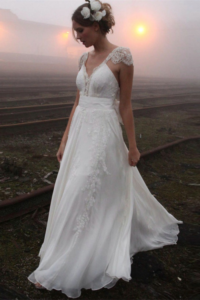 a8e97b7ff930 2018 V-neck Summer Outdoor Wedding Dress Lace Cap Sleeve Open Back Bridal  Gowns 0