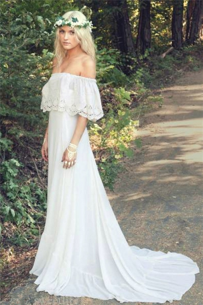 Off The Shoulder 2018 Bohemian Wedding Dresses Lace Summer Beach ...