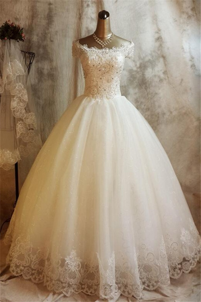 Glamorous Lace Ball Gown Wedding Dress For Princess Liques 2018 Bride Dresses 0