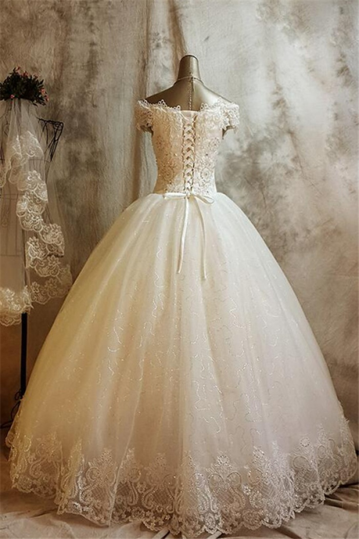 Glamorous Lace Ball Gown Wedding Dress for Princess Appliques 2018 ...