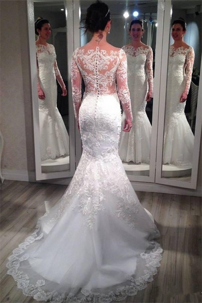 Lace Long Sleeve Wedding Dresses 2018 Vintage Mermaid Bridal Gowns with  Appliques 0 57bad7b3f6a1