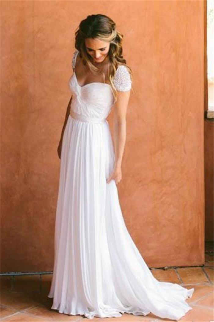 Cap Sleeves 2018 Chiffon Bohemia Wedding Dresses For