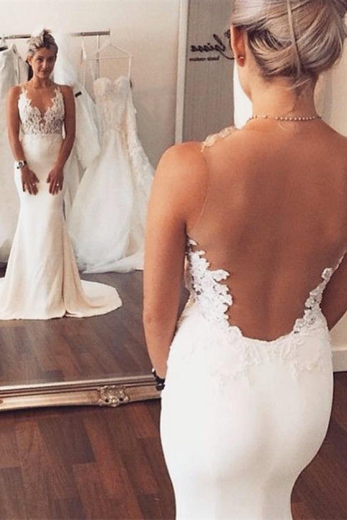 2018 Sheer Back Mermaid Wedding Dress Sleeveless Lace Summer Beach Gowns Ba3612 0