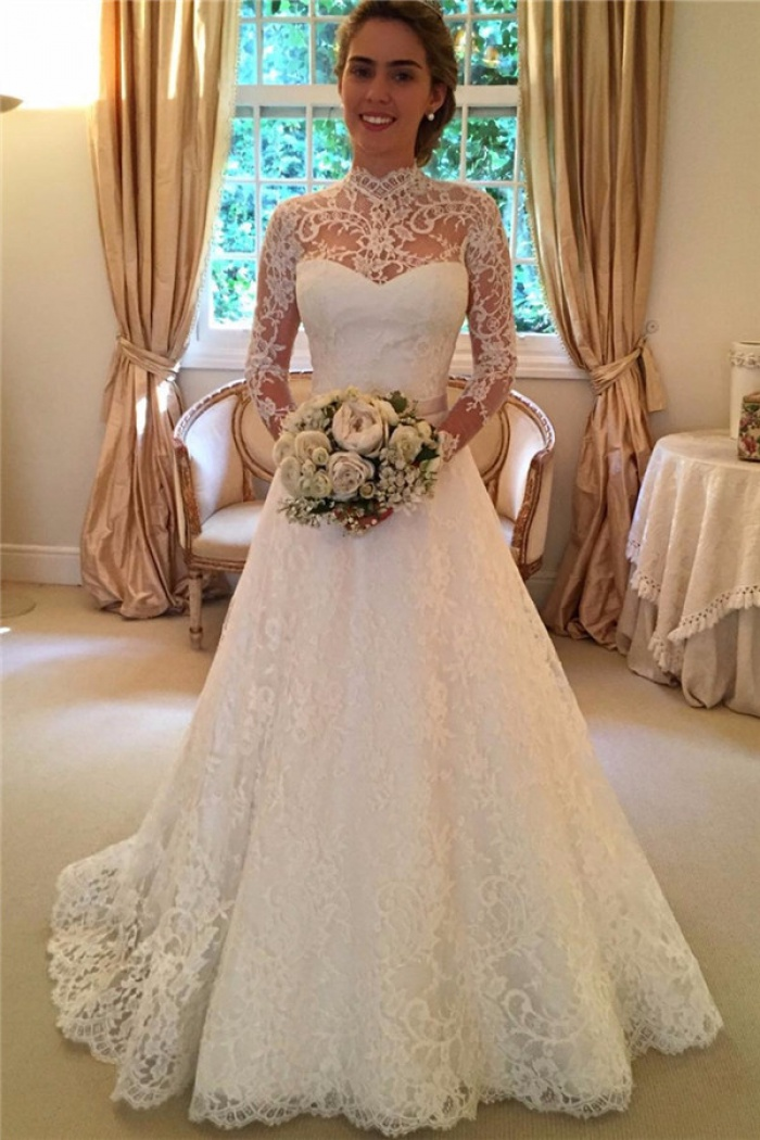 2018 High Neck Lace Open Back Wedding Dress Vintage Long Sleeves Bridal Gown With Bow 0
