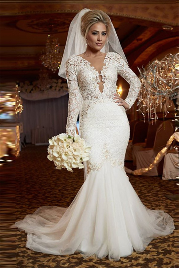 lace sleeved wedding dresses scoop sleeve lace wedding dress mermaid 5371