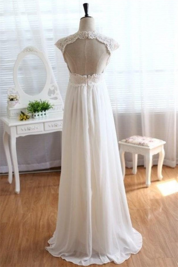 2018 Empire Waist Wedding Dress Lace Chiffon Summer Beach Bride ...