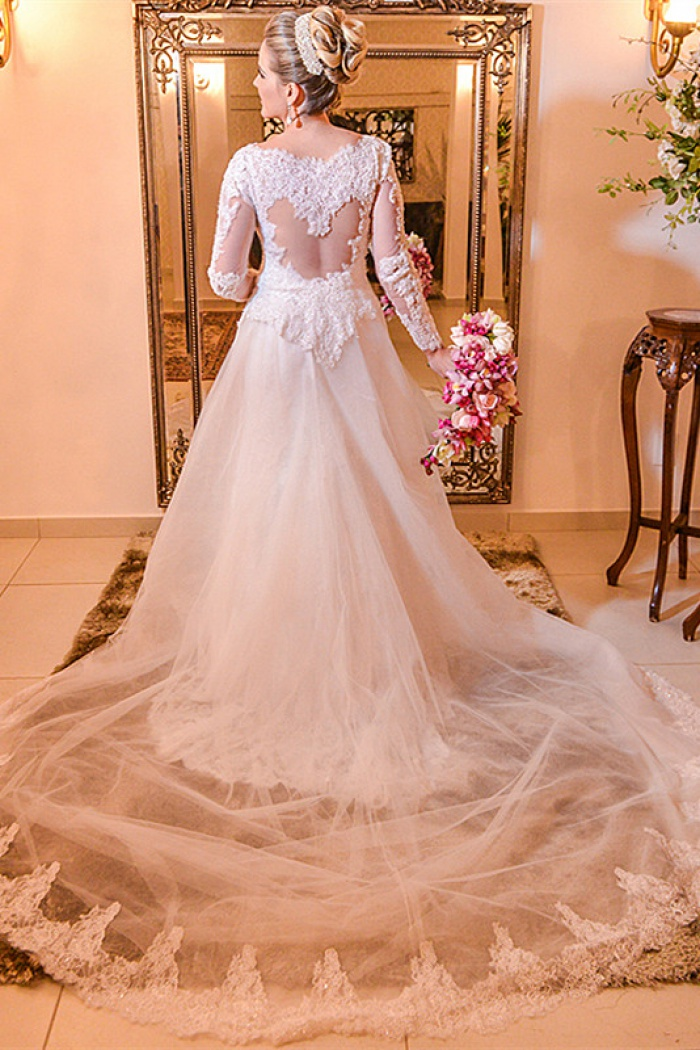 Elegant Lace Plus Size Wedding Dress 2018 Long Sleeve A Line Bride Dresses With