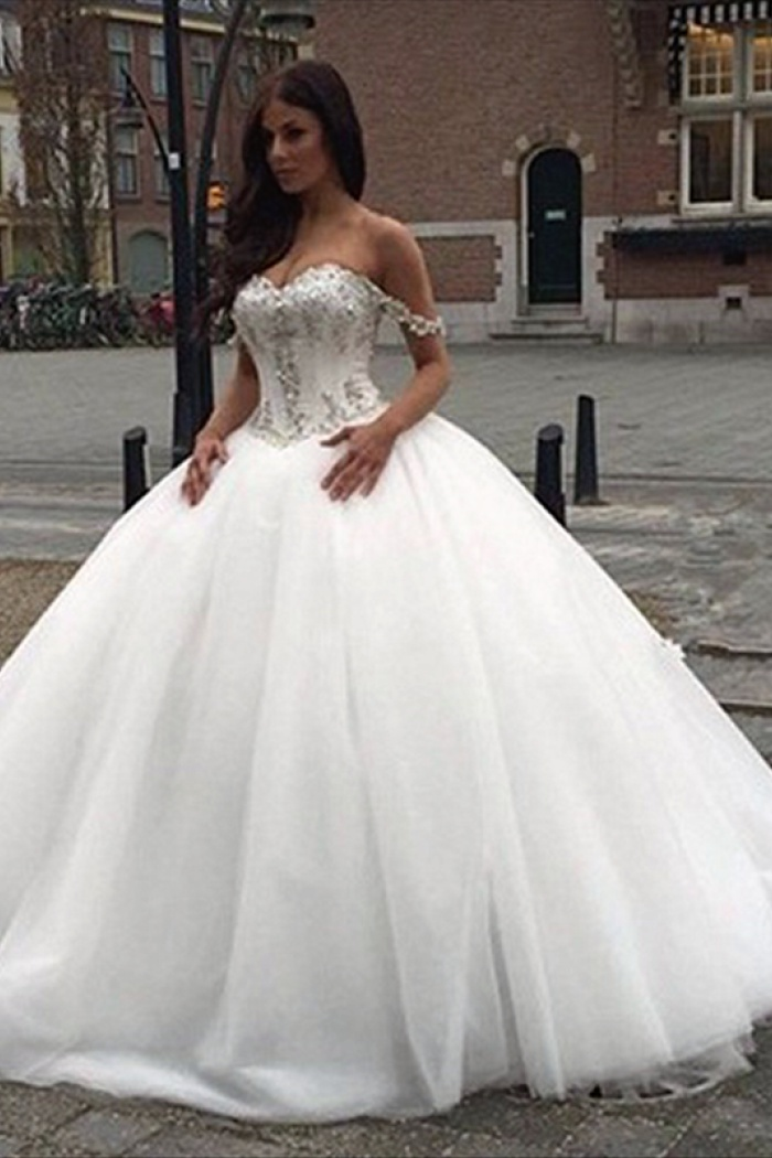 Off The Shoulder Princess Wedding Dress 2018 Sweetheart Crystals ...