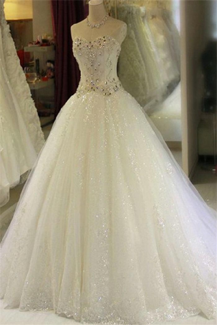 Gorgeous Sparkly Crystals Wedding Dress Beading Sequins Princess Bride Dresses Ba7295 Wisebridal Com