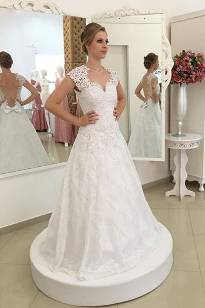 Short Sleeve A Line Lace Wedding Dress Gorgeous 2018 Bridal Gown Bmt134 0