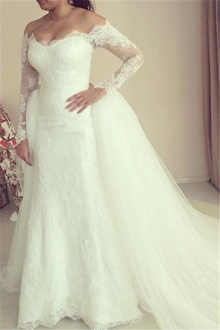 2018 Off The Shoulder Wedding Dress Long Sleeve Puffy