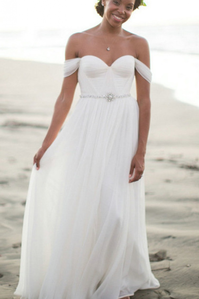 4bb5e1a95521ca A-Line Ruffles Off the Shoulder 2018 Bridal New Arrival Chiffon Summer  Beach Wedding Dress