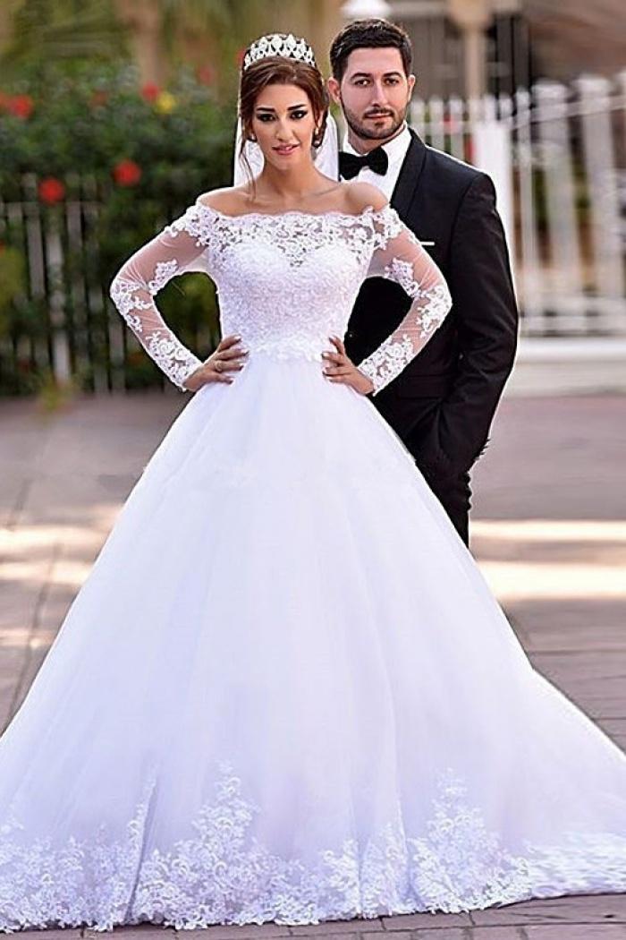 Lace Long Sleeve 2018 Wedding Dresses Off The Shoulder A Line Bridal Gowns Wisebridal Com,Wedding Long Purple Bridesmaid Dresses