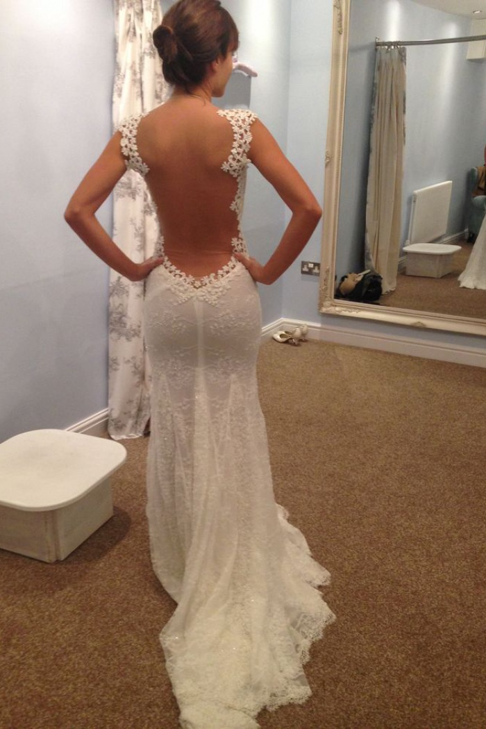 Y Mermaid Lace 2018 Bridal Dress Open Back Sweep Train Wedding Dresses 0