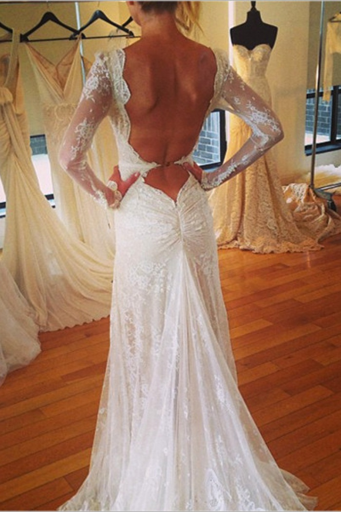 Vintage V-Neck Long Sleeve Wedding Dress Tulle Applique Open Back ...