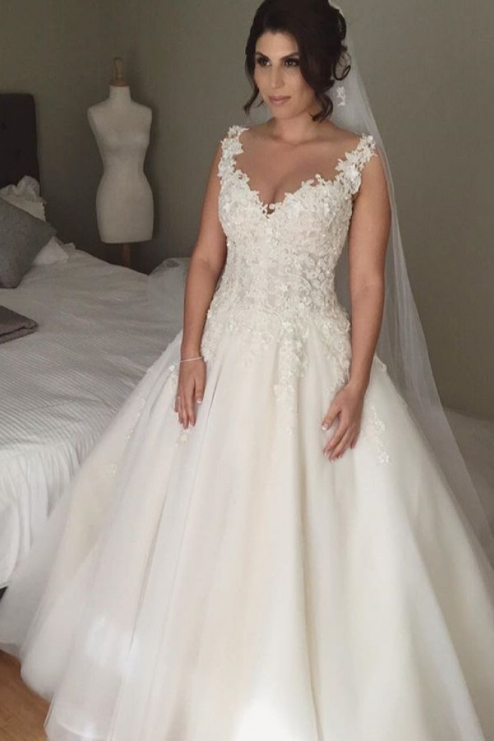 Latest A Line Lace Lique 2018 Bridal Gown Open Back Sleeveless Court Train Wedding Dress