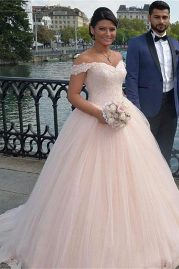 Latest Off Shoulder Ball Gown Princess Dress Tulle Lace Applique ...