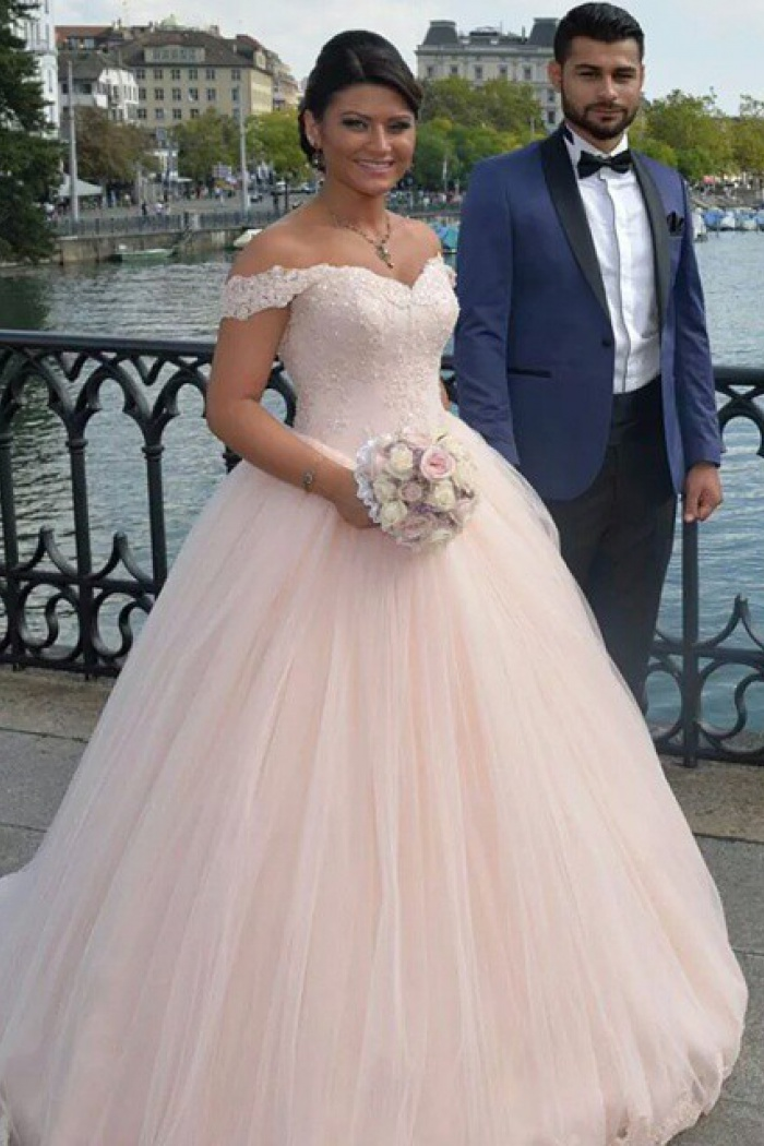 Latest Off Shoulder Ball Gown Princess Dress Tulle Lace Applique ...