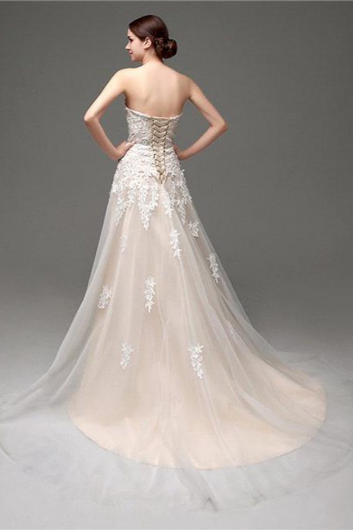 A Line Champagne Sweetheart Lace Wedding Dress New Arrival Lace Up