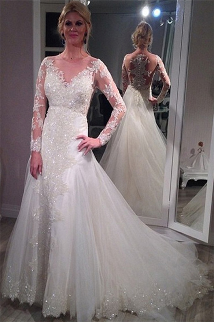 Sheer Scoop Long Sleeve Wedding Dress Sparkly Lace Court Train ...