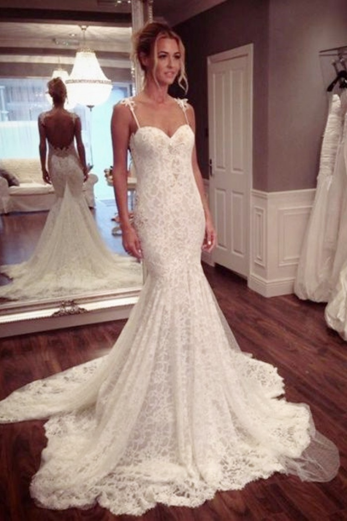 c74fcd1a5b969 Sexy Lace Spaghetti Strap Mermaid Wedding Dress Latest Court Train Open  Back 2018 Bridal Gowns 0