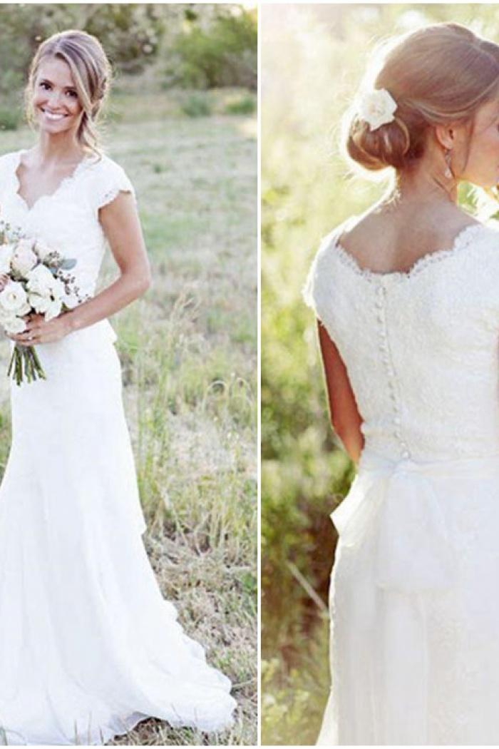 Latest Simple V-Neck White Lace Wedding Gowns Chiffon Short Sleeve ...