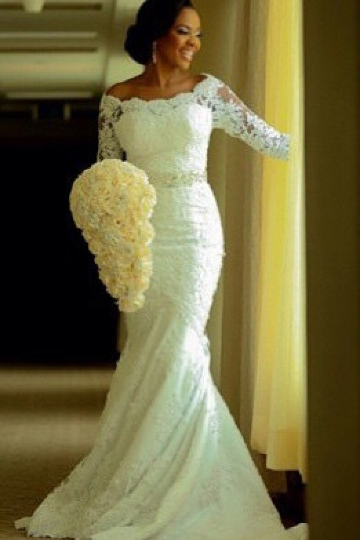 Vintage Long Sleeve Mermaid Lace Wedding Dress Crystal Latest Long