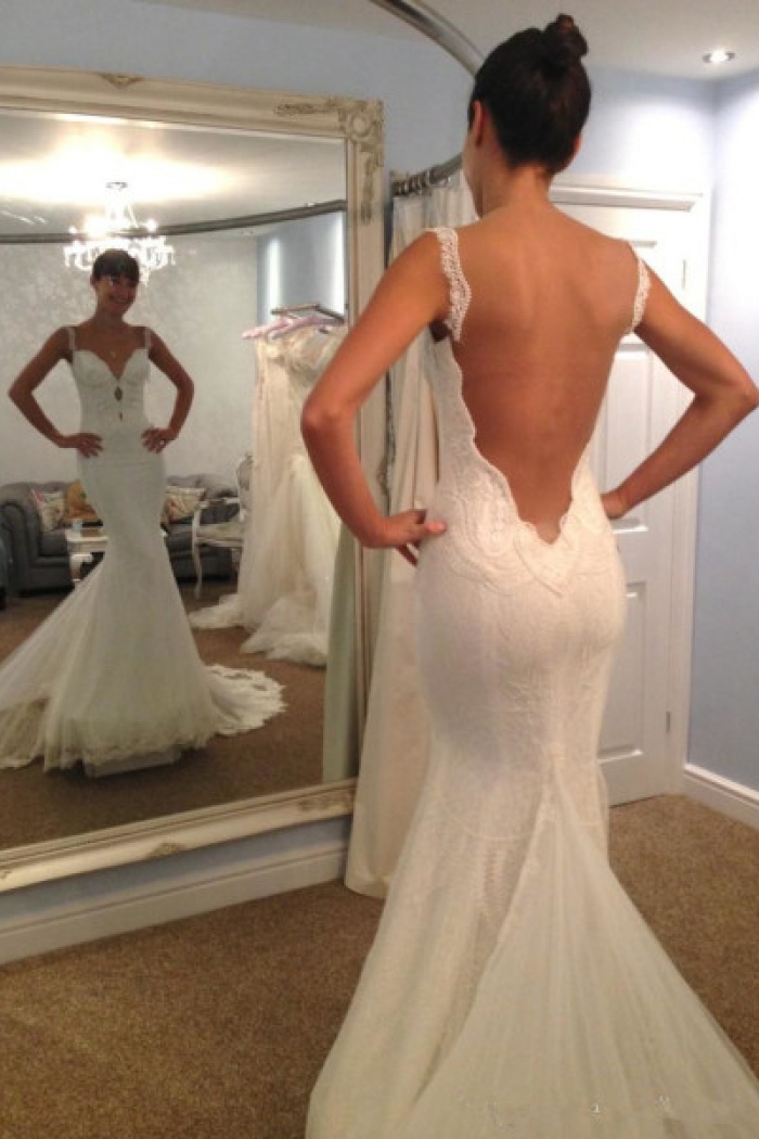ff7762b48c5b2 Vintage Spaghetti Strap Mermaid Backless Bridal Gown Sexy Trumpet Lace Plus  Size Wedding Dress 0