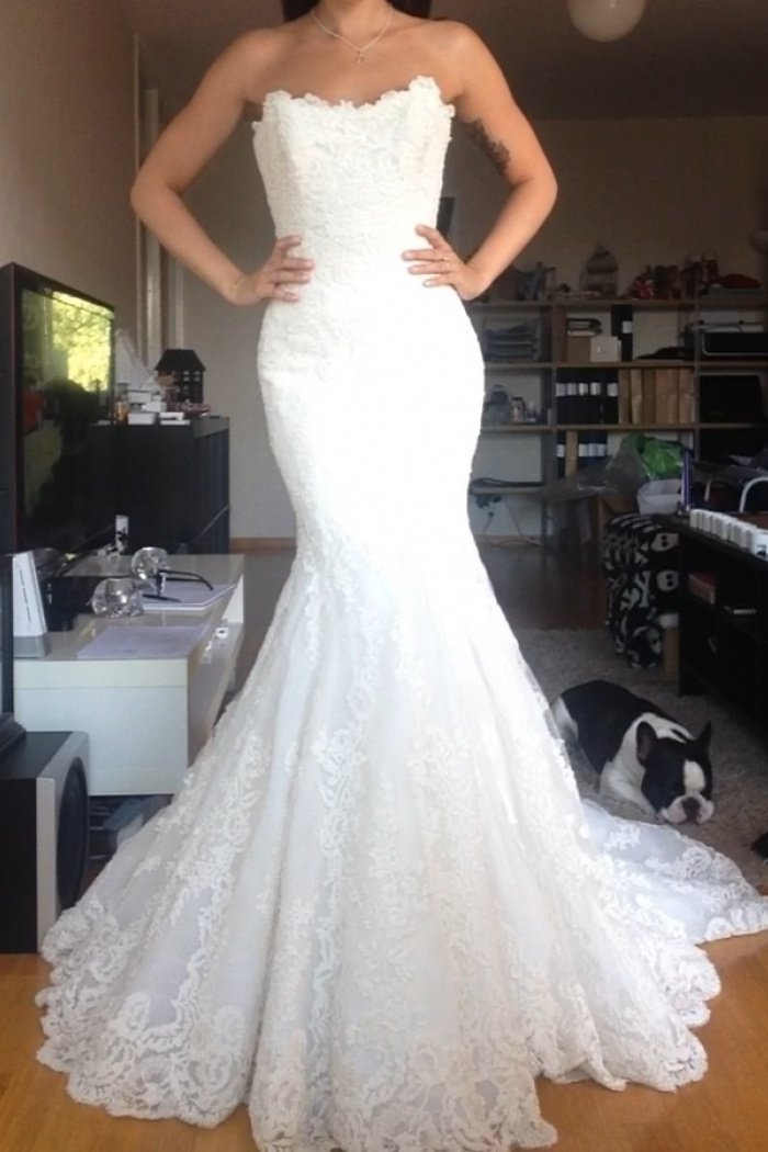 22773710040ab Beautiful White Lace Mermaid Bridal Gown Popular Custom Made Trumpet Plus  Size Wedding Dress 0