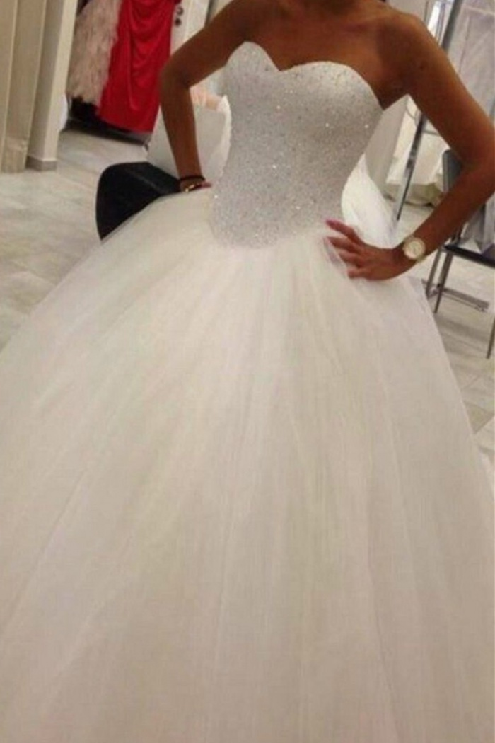 Lovely Sweetheart Tulle Wedding Ball Gowns Beads Princess Bridal ...