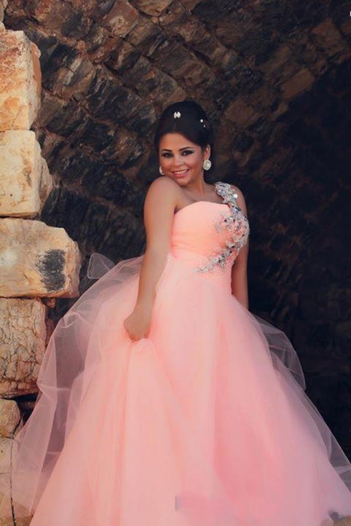 Cute Pink One shuolder Plus Size Wedding Dress New Arrival Tulle Long  Evening Dress